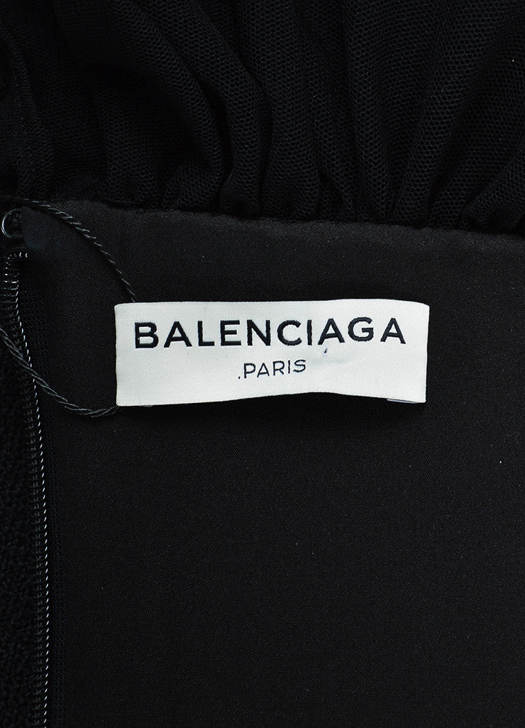 Black Balenciaga Crepe Beaded Collar Ruched Sleeve Top Brand