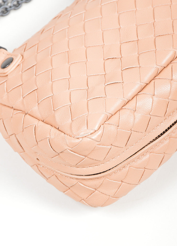 "Blush Pink Bottega Veneta ""Small Chain Intrecciato"" Nappa Cross Body Bag Detail"