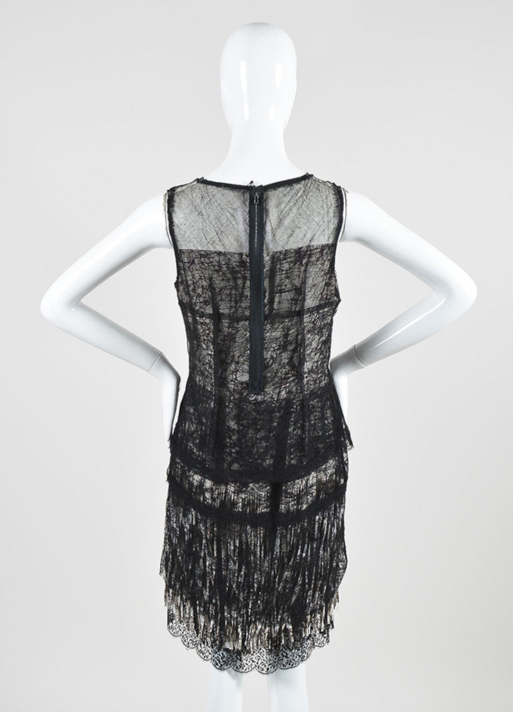 Black, Off White, and Purple Bottega Veneta Lace and Mesh Abstract Print Fringe Dress Backview
