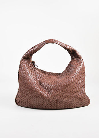 "Bottega Veneta Brown Intrecciato Leather ""Large Veneta"" Hobo Shoulder Bag Frontview"