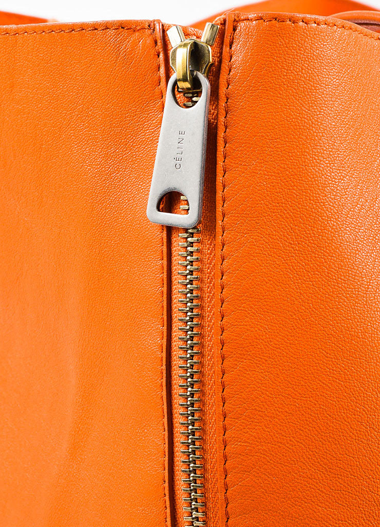 "Celine Orange Leather ""Horizontal Gusset Cabas"" Tote Bag Detail 3"