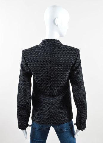 Celine Black Cotton Woven Brocade Long Sleeve Blazer Jacket Back