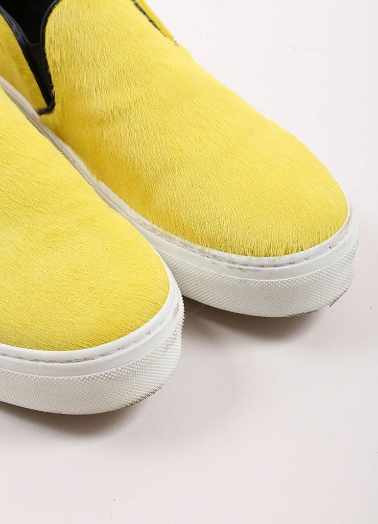 Celine Yellow and Black Pony Hair Slip On Sneakers Detail