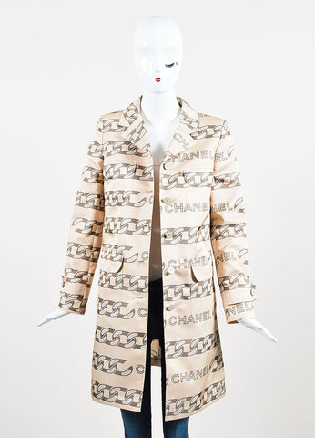 Beige and Grey Chanel Silk Blend Chain Printed Trench Coat Frontview