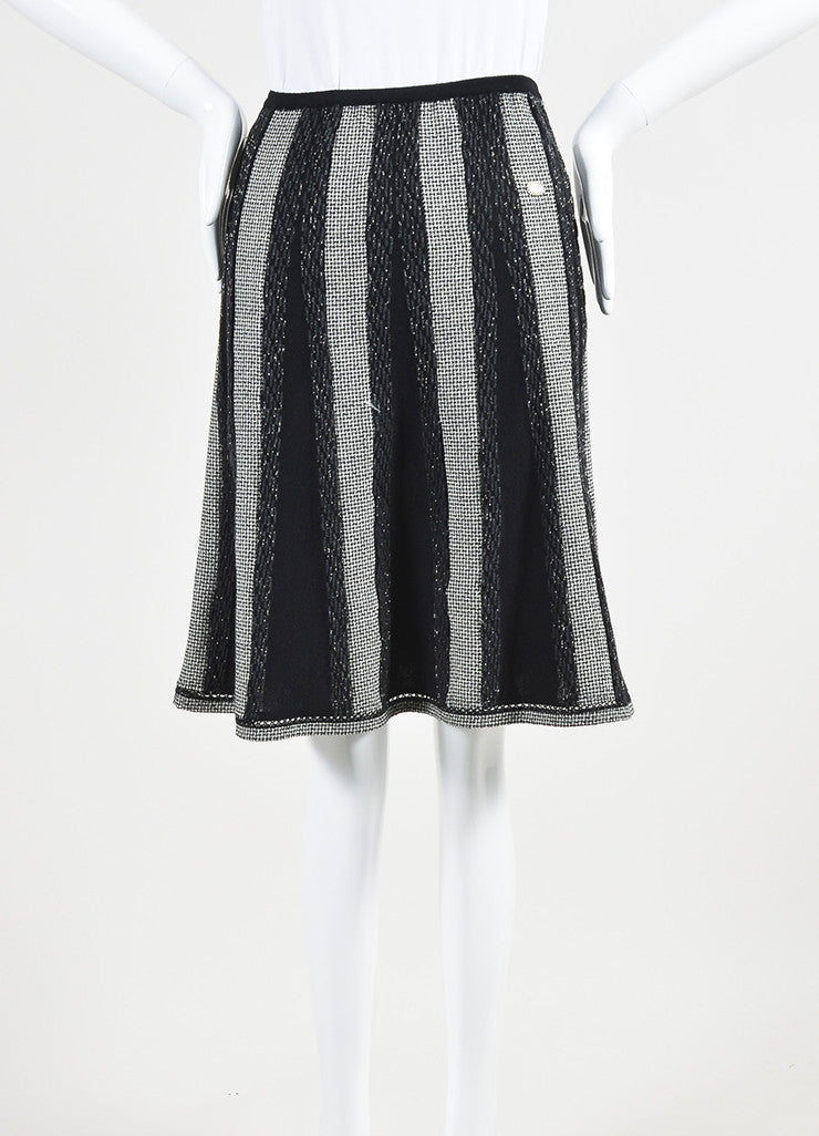 Black and White Chanel Wool Blend Houndstooth Metallic Stripe Skirt Frontview