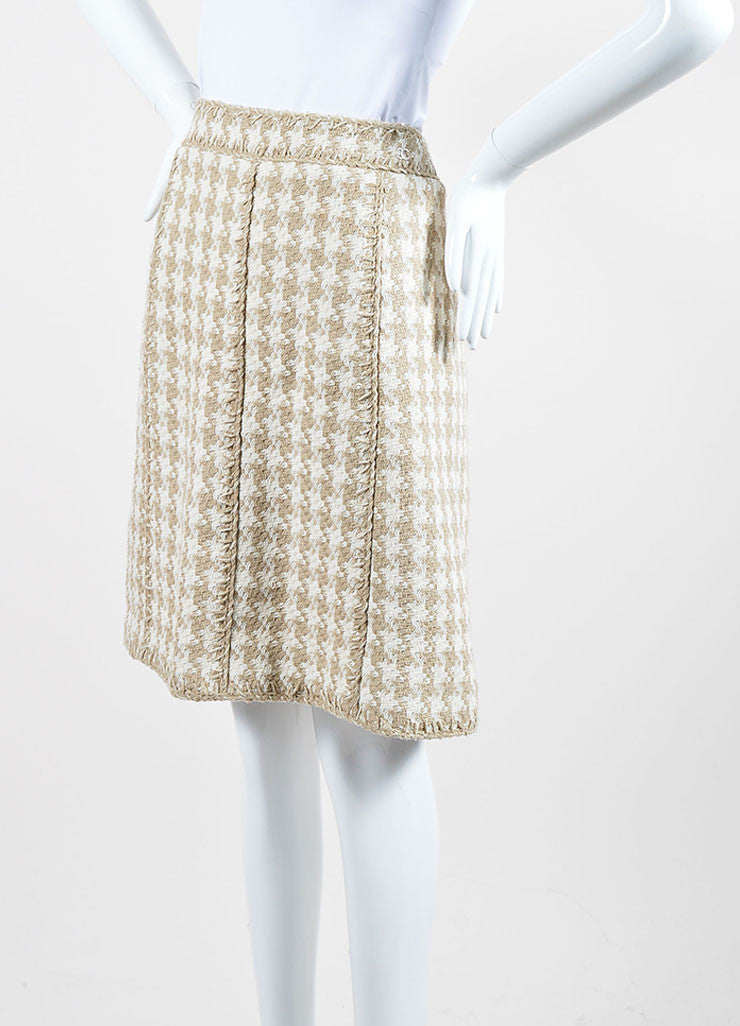 Taupe and White Chanel Silk Woven Houndstooth A-Line Skirt Sideview