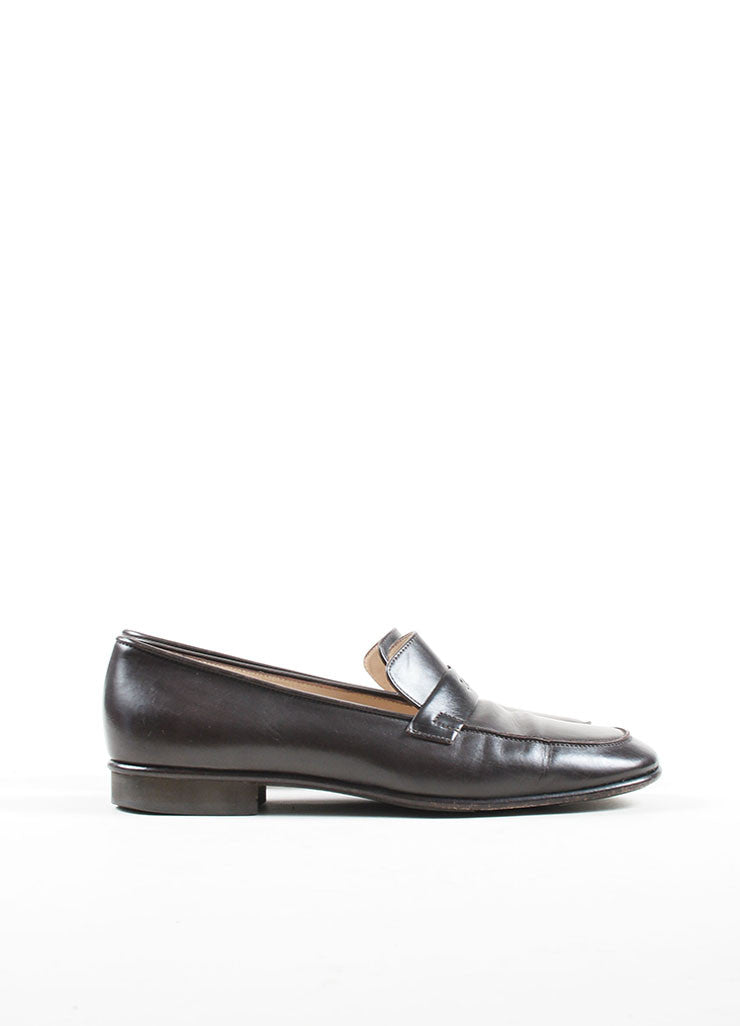 "Brown Leather Chanel ""CC"" Logo Squared Toe Slip On Loafers Sideview"