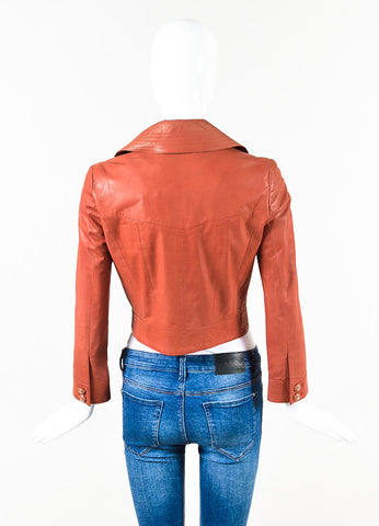 Chanel Orange Calfskin Leather Top Stitched 'CC' Button Moto Jacket Back