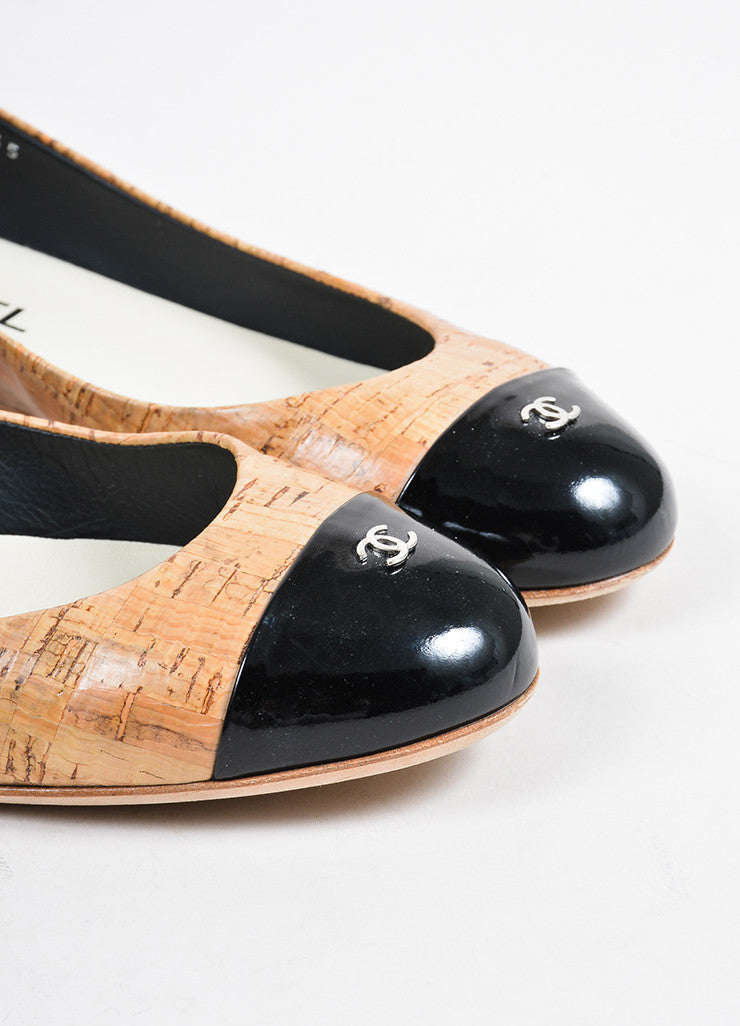 Tan, Black, and Silver Toned Chanel Cork and Leather Cap Toe Ballerina Flats Detail