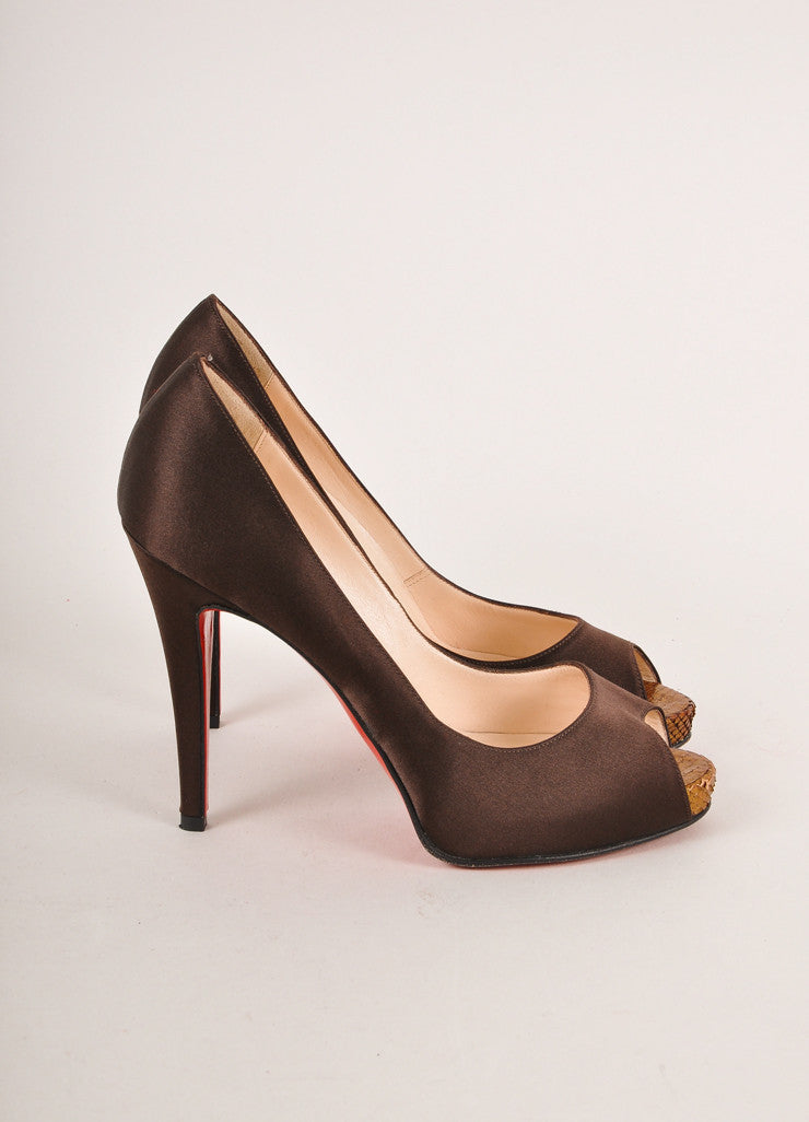 "Christian Louboutin Brown Peep Toe ""Very Prive 120"" Snake Satin Pumps Sideview"