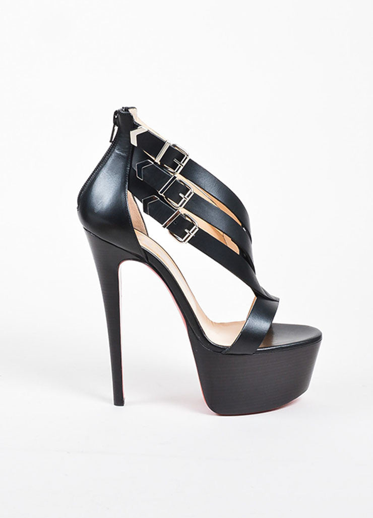 "Black Leather Christian Louboutin ""Charleze"" Platform Sandals Sideview"