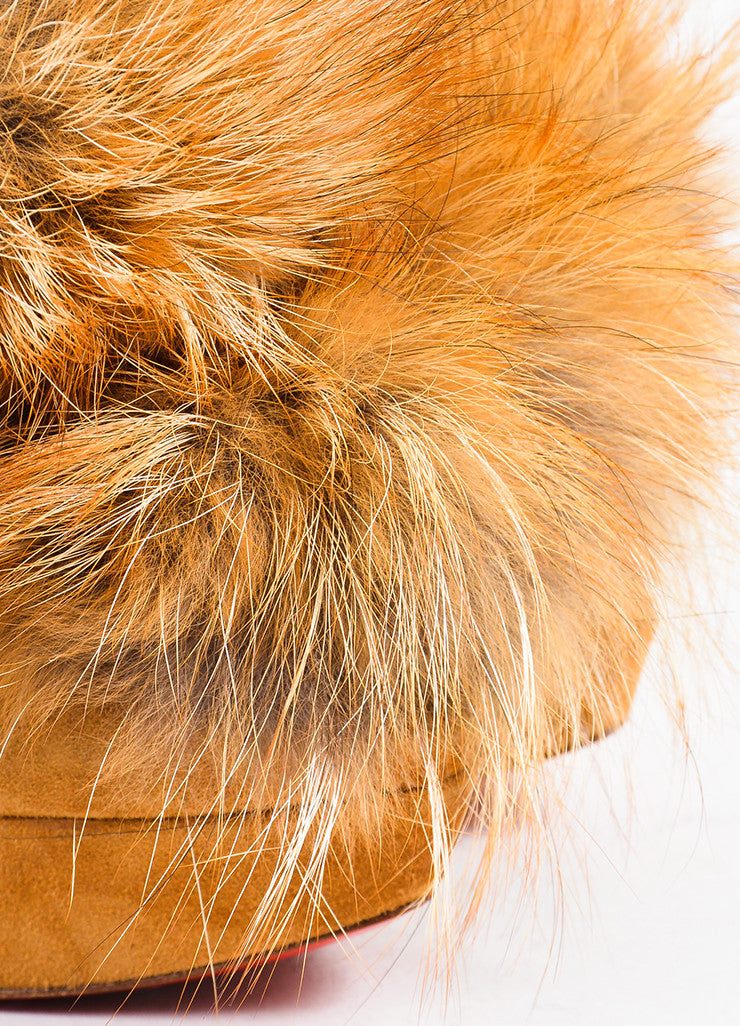 "Ì_Ì_å¢Ì_?ÁÌ_Ì_Christian Louboutin Tan Suede ""Splash"" Fox Fur Slingback Pumps Detail"