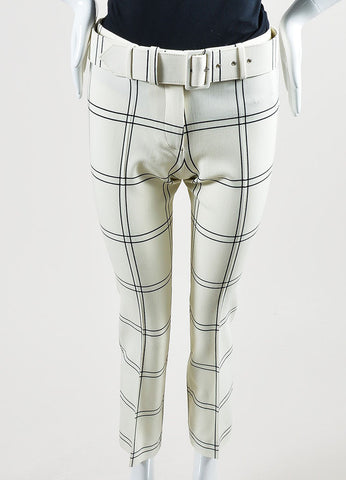 "Cream and Black Derek Lam Wool ""Windowpane Check"" Cropped Trousers Frontview"