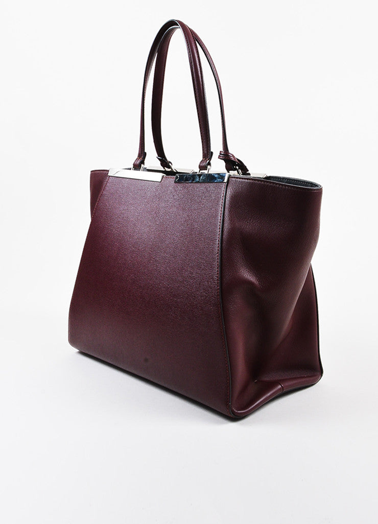 "Fendi Maroon Textured Leather Top Handle ""3 Jours"" Medium Trapeze Tote Bag Sideview"
