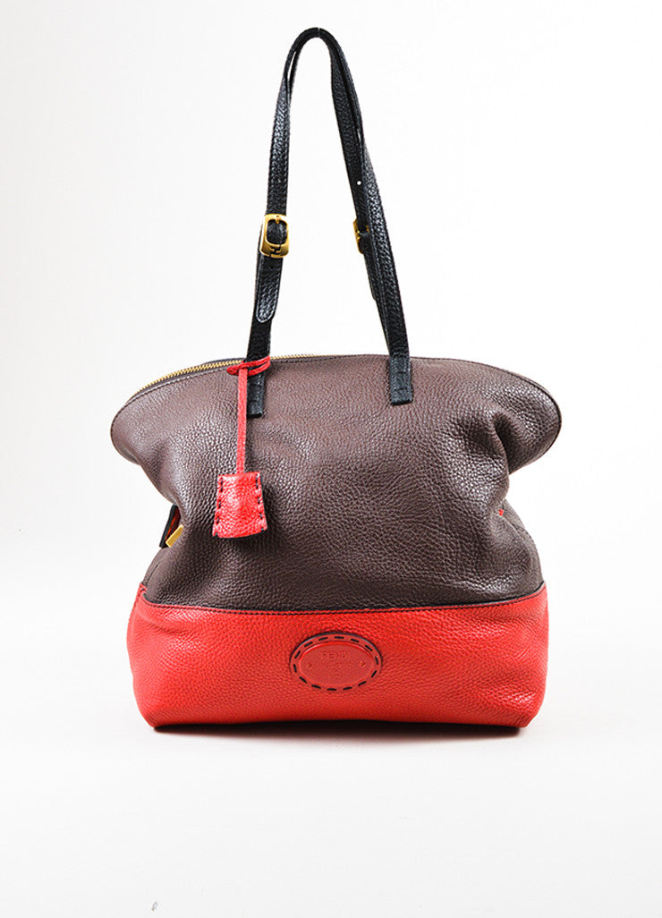 "Fendi Black, Brown, and Red Tricolor Leather Double Strap ""Selleria 2"" Handbag Frontview"