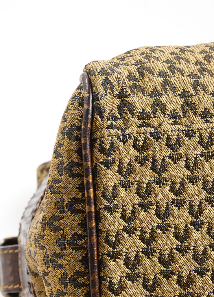 Fendi Brown and Taupe Brocade Leather Trim Patterned Satchel Bag Detail