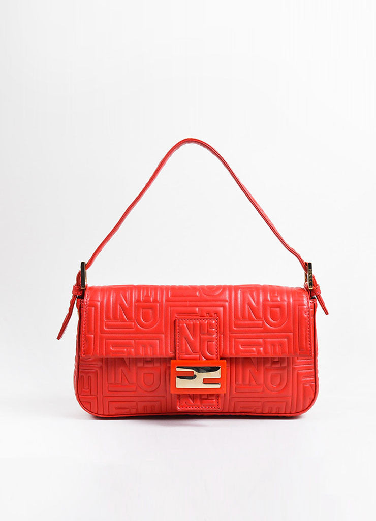 Red Fendi Leather Embossed Baguette Bag Frontview