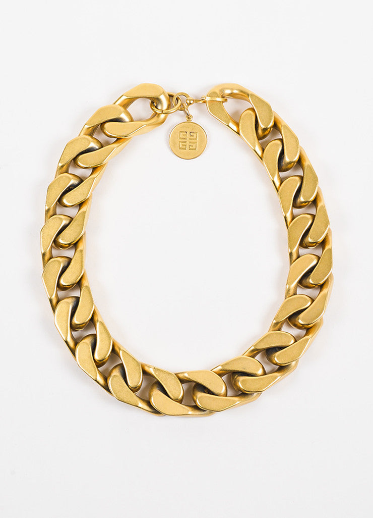 Givenchy Gold Toned Metal Oversize Chain Link Necklace Frontview