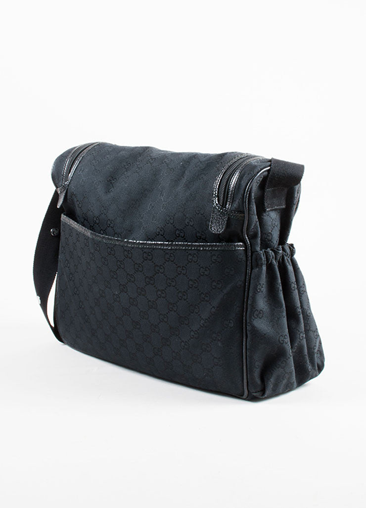 Gucci Black Canvas and Leather Monogram 'GG' Logo Diaper Shoulder Bag Back