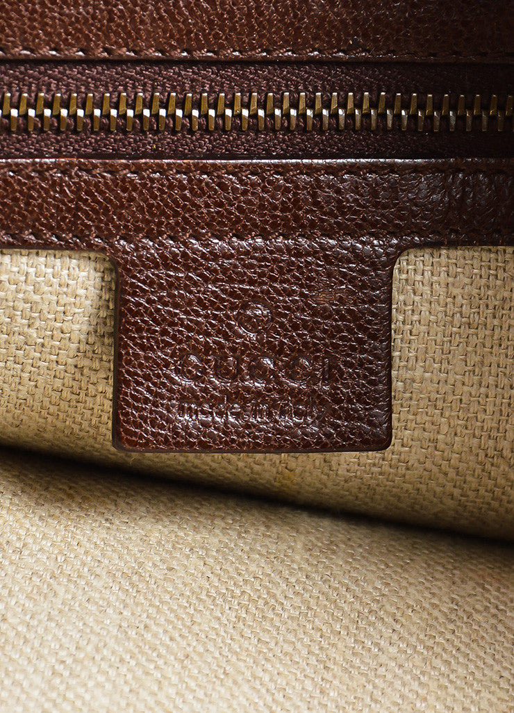 "Brown Gucci Leather Embossed Studded ""Pelham"" Bag Brand"