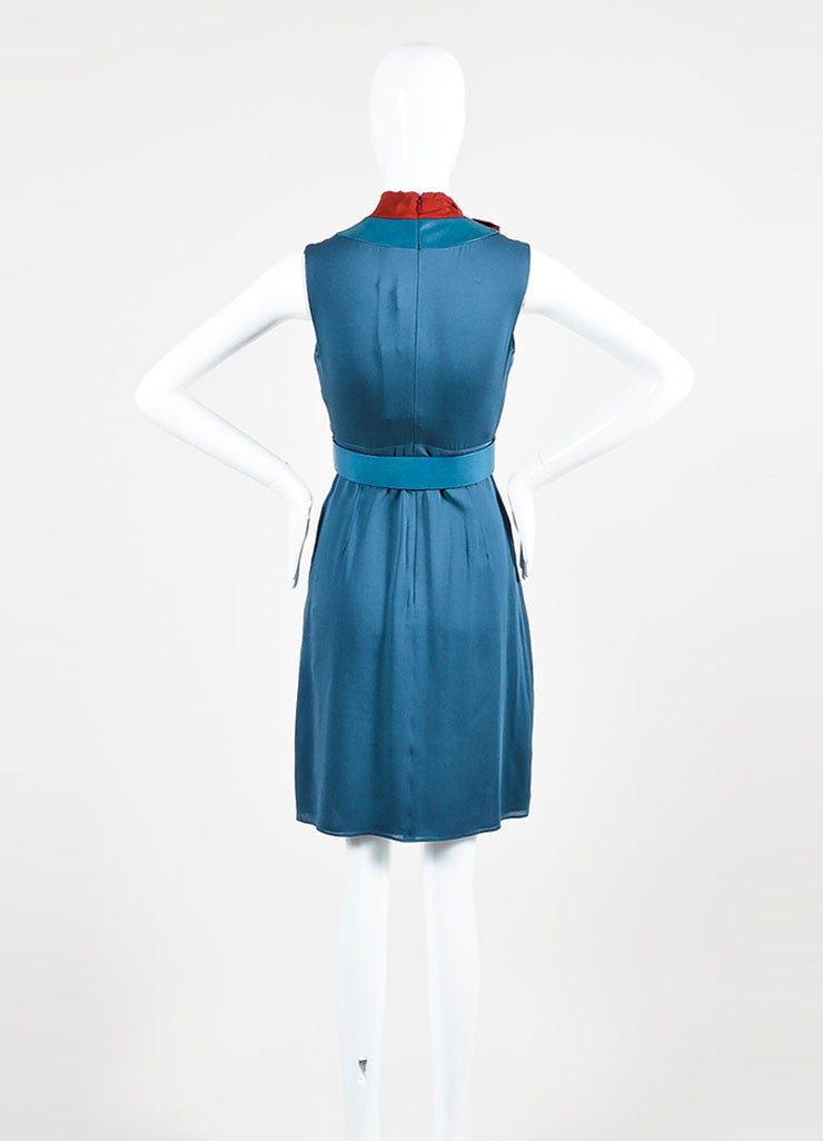 Blue and Red Gucci Silk Leather Trim Layered Bow Belted Dress Backview