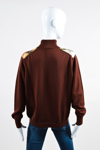 Brown Hermes Wool and Silk Pheasant Long Sleeve Turtleneck Sweater Backview