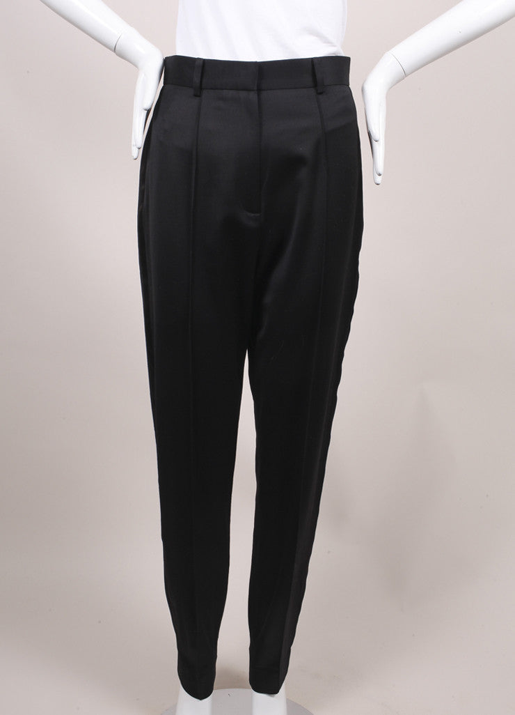 Jason Wu New With Tags Black High Waisted Wool and Satin Tuxedo Trousers Frontview