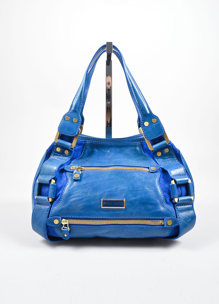 "Jimmy Choo Cobalt Blue Leather ""Mahala"" Shoulder Bag Frontview"