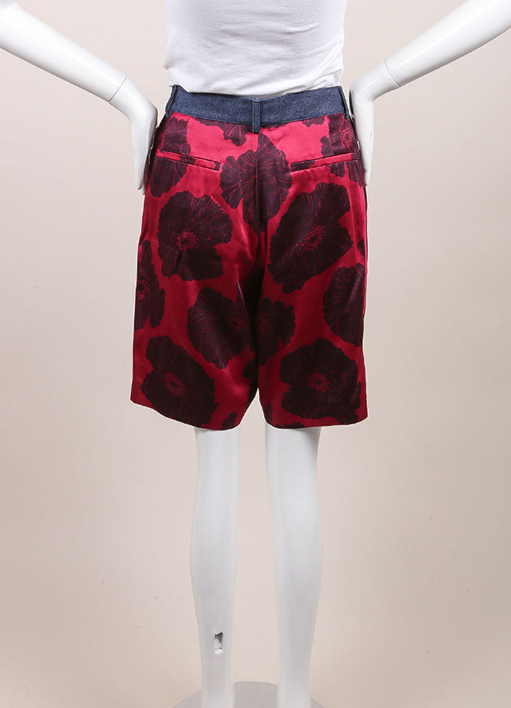 "Jonathan Saunders New With Tags Pink and Navy Satin Floral Print ""Jolita' Shorts Backview"