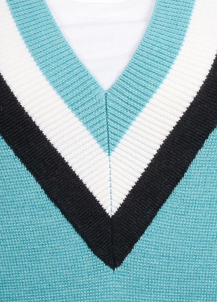 "Jonathan Saunders New With Tags Turquoise Wool Stripe Oversized ""Leanne"" Sweater  Detail"