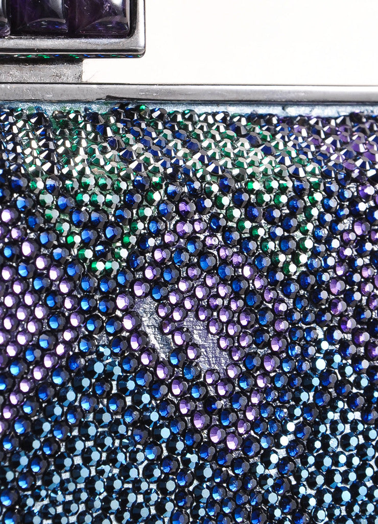 Judith Leiber New With Tags Blue, Purple, and Green Crystal Encrusted Minaudiere Clutch Bag Detail 4