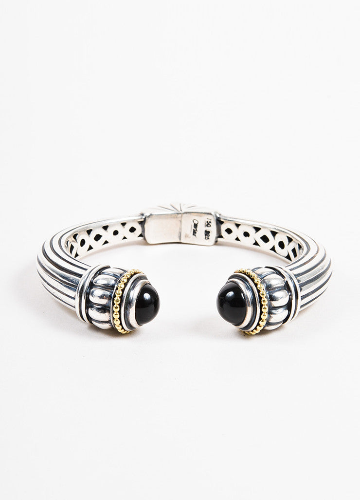 Lagos Caviar Collection Sterling Silver, 18K Gold, and Onyx Hinged Cuff Bracelet Frontview
