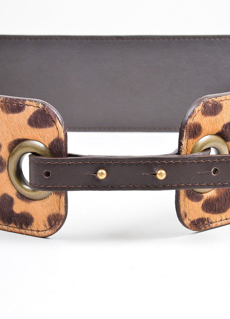 Tan Brown Lanvin Leather Pony Hair Leopard Paneled Belt Detail
