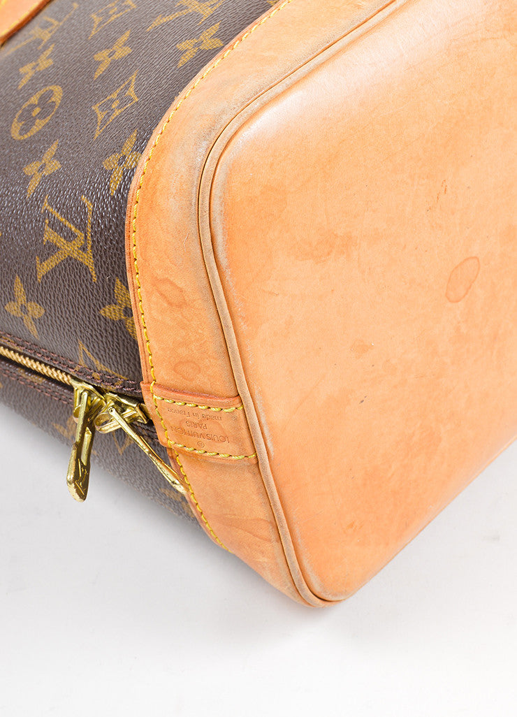 "Brown Louis Vuitton Monogram ""Alma PM"" Zip Satchel Bag Detail"