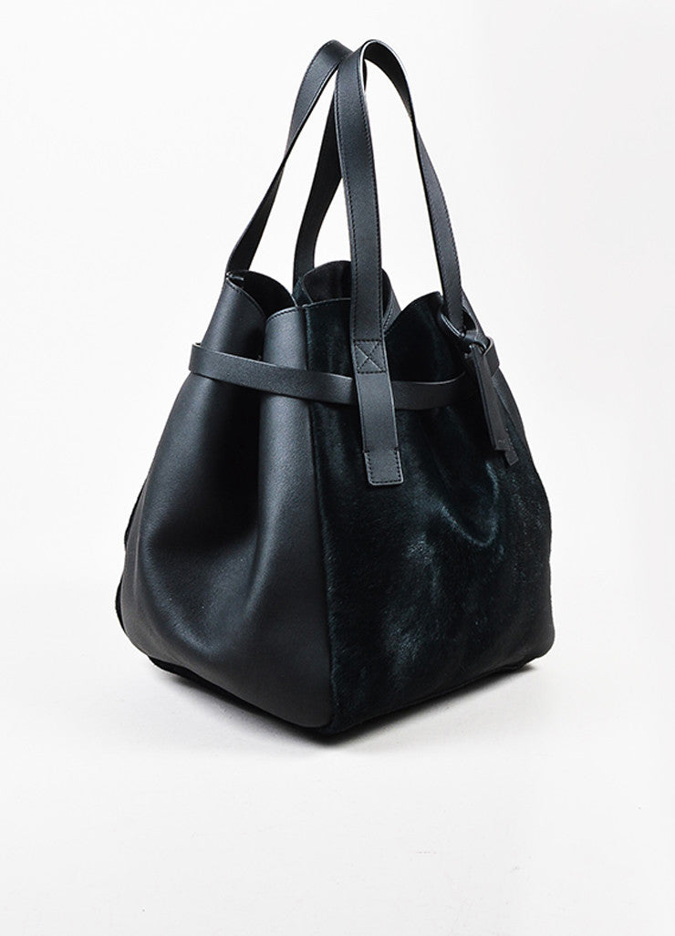 Black and Dark Green Marni Leather and Pony Hair Paneled Shoulder Bucket Bag Sideview