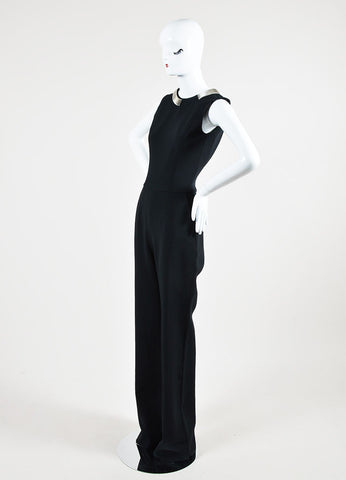 Black Mugler Chain Collar Open Back Wide Leg Halter Jumpsuit Sideview