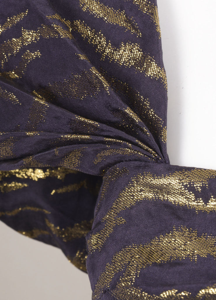 3.1 Phillip Lim Purple and Gold Silk Blend Animal Print Pleated Cap Sleeve Dress Detail