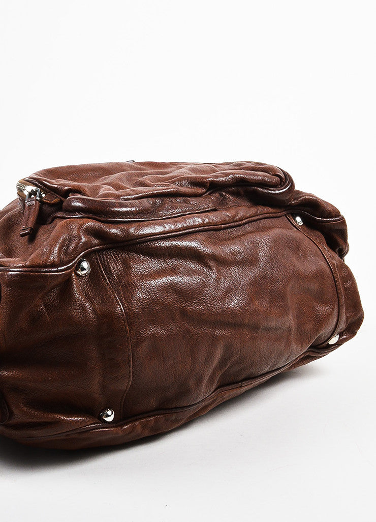 Prada Brown Distressed Leather Silver Toned Zip Multipocket Satchel Shoulder Bag Bottom View
