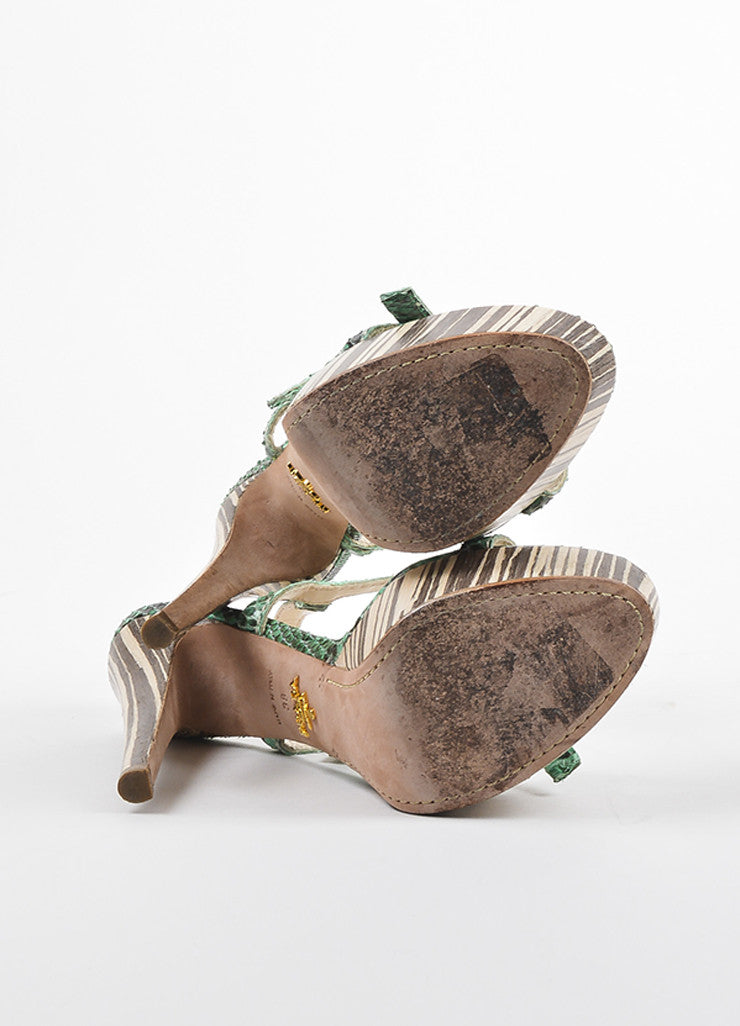 Prada Green, Brown, and Beige Python and Wood Bow Strap Platform Sandals Outsoles
