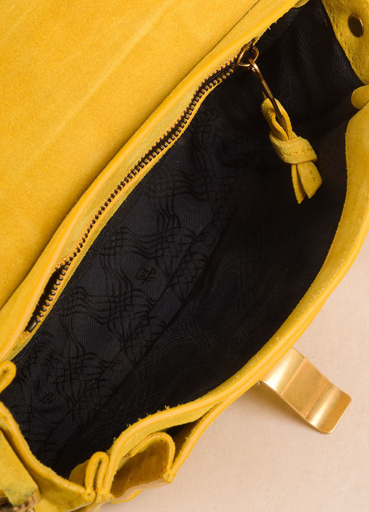 "Proenza Schouler Dark Yellow Suede ""PS1"" Small Messenger Crossbody Bag Interior"