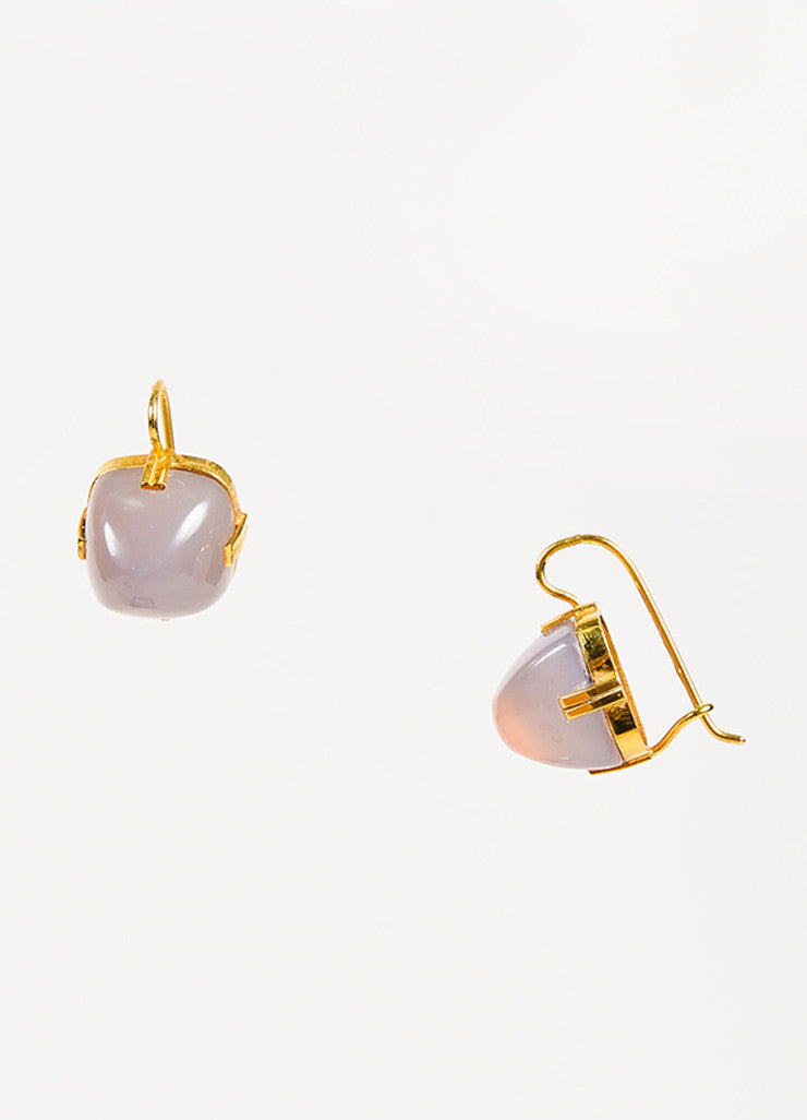 Renee Lewis 18K Yellow Gold Chalcedony Square Drop Earrings Detail