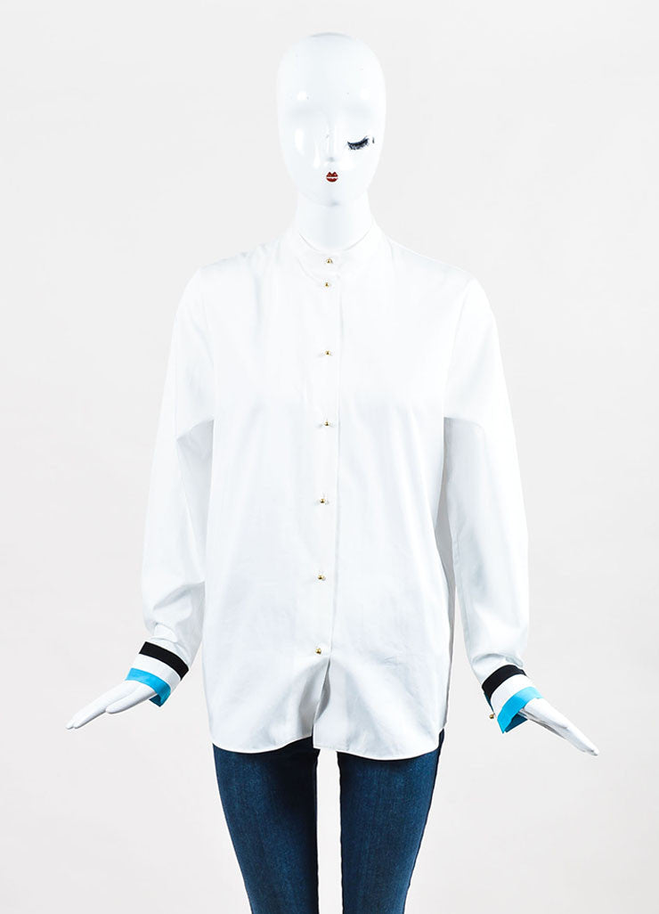 "White Blue & Black Roksanda Cotton Blend ""Avery"" Shirt Front"