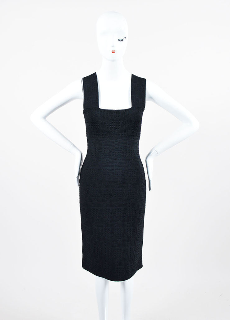 Black Roland Mouret Textured Knit Sleeveless Fitted Bodycon Dress Frontview