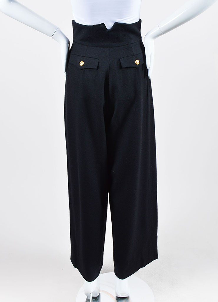 Black Chanel Wool High Waisted Wide Leg Sailor Pants Backview