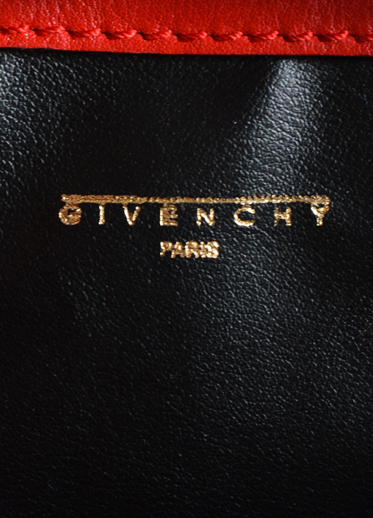 Givenchy Red Leather Gold Toned Studded Bucket Bag Brand