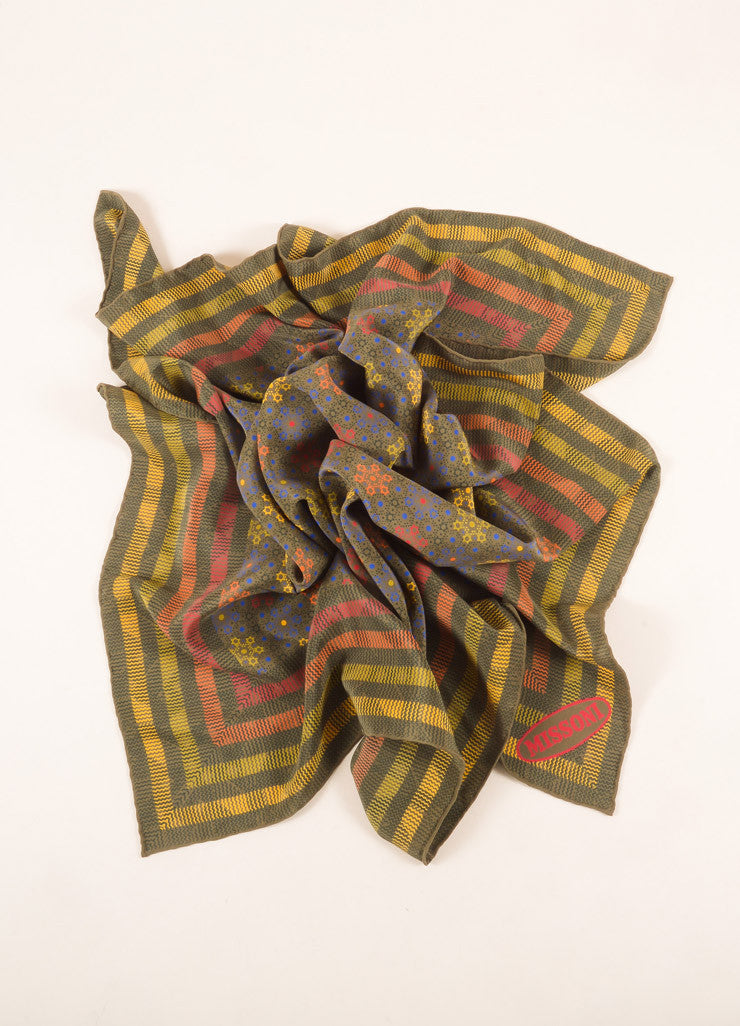 Missoni Green and Multicolor Stripe and Radial Start Print Silk Scarf Frontview