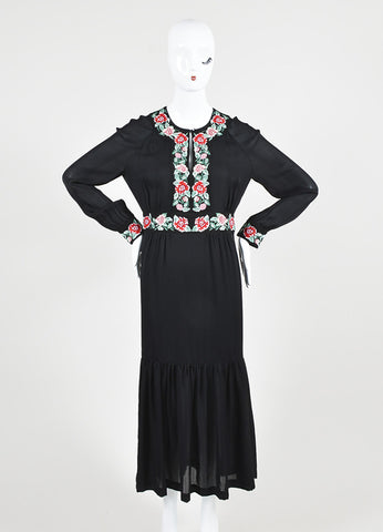 "Black Vilshenko Silk Red Floral Embroider ""Azita"" Long Sleeve Midi Dress Frontview"