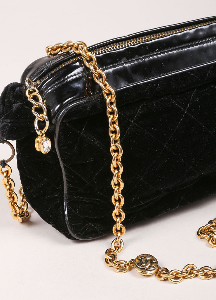 Chanel Black Velvet Quilted Patent Grim Gold Toned Chain Bag Detail 3