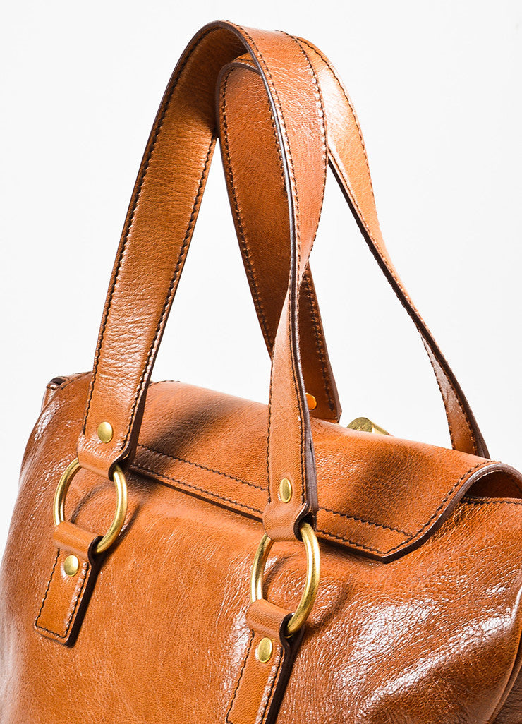 "Cognac Brown Yves Saint Laurent Glossy Leather ""Muse Messenger"" Bag Detail 3"