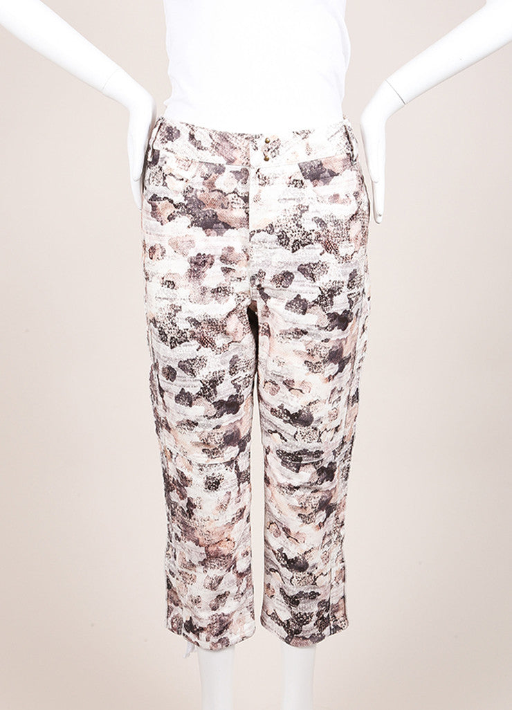 "Isabel Marant New With Tags Cream and Black Printed ""Dessie"" Pants Frontview"